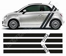 fiat 500 abarth racing stripes decals sticker set