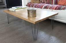table basse pied metal table basse bois massif et pied 233 pingle acier vernis sur