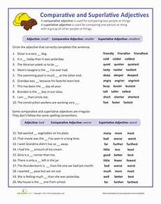 adjectives that compare worksheet education com