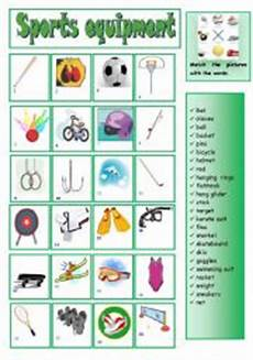 sports equipment worksheets 15781 sports equipment matching esl worksheet by b