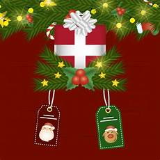 merry christmas with gift and tags hanging vector premium download