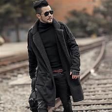 2018 men slim fashion european style black cotton cardigan metrosexual man new design winter