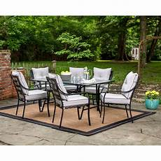 outdoor dining furniture lavallette 7 dining set with 9 ft table umbrella