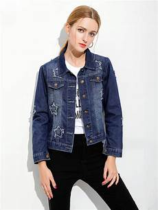 single breasted sleeves ripped blue denim jacket womens
