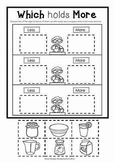 volume measurement worksheets free 1630 capacity non standard measurement for kindergarten grade one free kindergarten worksheets