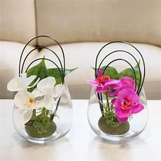 petit bouquet de fleurs pour table simulation butterfly orchid glass vase pu flowers potted
