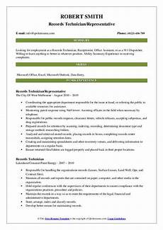 records technician resume sles qwikresume