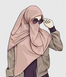 20 Gambar Kartun Muslimah Bercadar Kacamata Gani Gambar