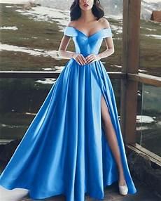 a line v neck satin off shoulder long prom dresses 2019 alinanova