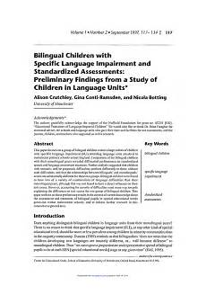 pdf bilingual children with specific language impairment and standardized assessments