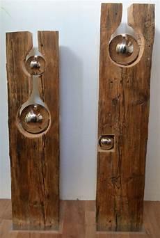 Holzbalken Deko Garten - alter holzbalken mit silberkugel iv und v sculpture