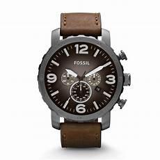 fossil herrenuhr jr1424 nate chronograph braun grau
