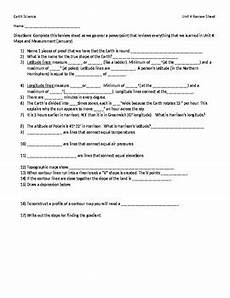 earth science review worksheet answers 13253 earth science maps and measurement review worksheet only by kristen wagner