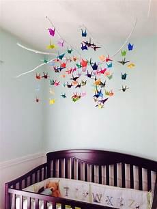 Baby Mobile Selber Basteln Papier Origami Kraniche Bunt