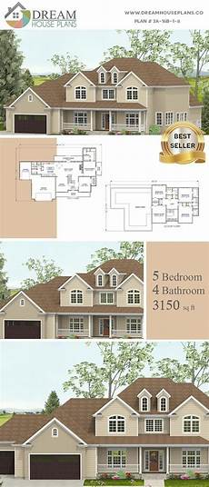 5 bedroom house plans with wrap around porch dream house plans best traditional 5 bedroom 3150 sq ft