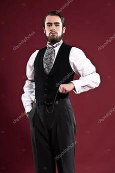 retro 1900 fashion with beard wearing black
