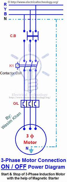 off three phase motor connection control diagram electrical technology pinterest