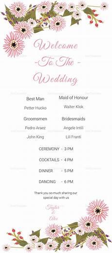 floral wedding program card design template in illustrator indesign word psd publisher