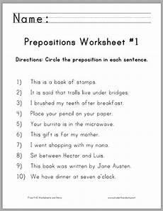 preposition of time worksheets for grade 3 3491 circle the prepositions worksheets student handouts