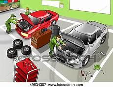 recherche mecanicien auto au black banque d illustrations automobile atelier r 233 paration k9634307 recherche de cliparts au