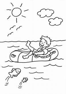 Schule Und Familie Ausmalbilder Sommer Kostenlose Malvorlage Sommer Junge Im Schlauchboot