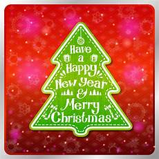 vintage stylized green merry christmas and happy new year label in shape of tree vector
