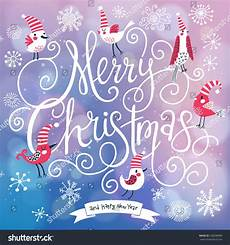 fantastic merry christmas card in vector cute stylish birds merry christmas text bright