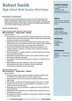 high school math teacher resume sles qwikresume