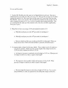 z score and percentiles worksheet for 11th higher ed