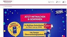 Rossmann Gewinnspiele Tempo Verlost Mydays Gutscheine