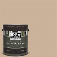 behr premium plus ultra 1 gal ul140 10 mushroom bisque semi gloss enamel exterior paint and