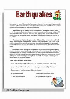 nature reading comprehension worksheets 15108 earthquakes reading comprehension activities