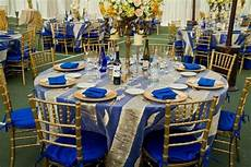 royal blue and gold decorations pretty wedding table