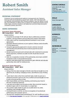 assistant sales manager resume sles qwikresume