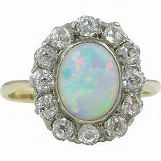 2 73ct vintage australian opal diamond engagement