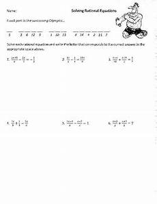 solving rational equations medium difficulty joke worksheet with answer key