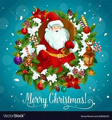 merry christmas poster with santa claus and snow vector image
