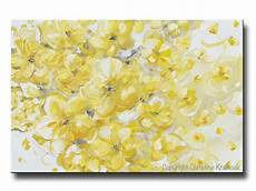 paintings for home decor original yellow grey abstract painting flowers floral