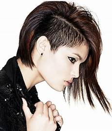 haircut short on one side long on the other punkish women hairstyle with very long on one side and very short on the other png