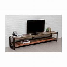 Meuble Tv Bas 2 Plateaux Industriel 200 Cm Noah En Teck