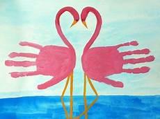 handabdruck bilder tiere handprint flamingos arts diy presents handp