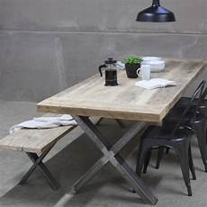 xavier reclaimed wood dining table with steel x frame by