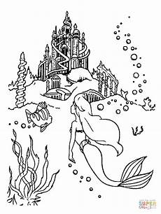 ausmalbilder meerjungfrau schloss ausmalbild ariel schwimmt zum schloss ausmalbilder