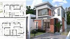 sketchup modern home plan size 8x12m house plan map