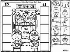 winter phonics worksheets 20073 phonics cut paste printables quot s quot blends winter by more than math by mo