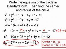 which is the equation of a circle with radius 2 5 and its