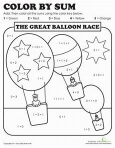 color by number worksheets 1st grade 16057 color by sum the great balloon race colors number worksheets and kindergarten colors