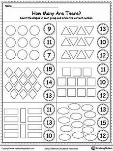 shapes and numbers worksheets for preschoolers 1207 count the shapes in each with images kindergarten math worksheets kindergarten