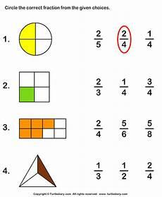 fraction worksheets shaded unshaded 4095 circle correct fraction representing shaded part worksheet turtle diary