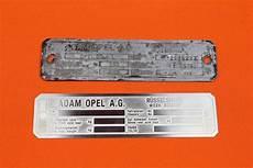 Vin Number Plate Vintage Opel